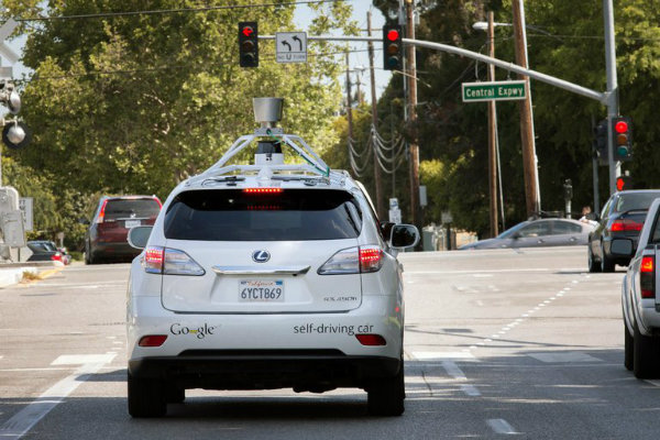 A driverless car on the streets of Mountain View, Calif.