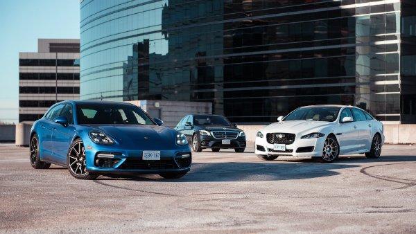 2018 Mercedes-Benz S560 4MATIC vs. 2018 Jaguar XJR575, 2018 Porsche Panamera Turbo Sport Turismo