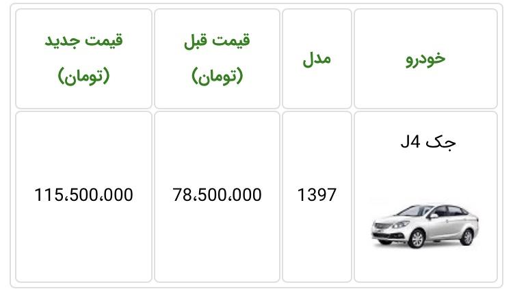 قیمت جدید خودروی جک J4 اعلام شد - اردیبهشت ماه 98