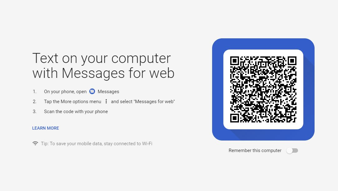 نسخه تحت وب Android Messages