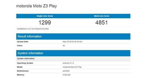 بنچمارک موبایل موتو Z3 Play موتورولا Motorola