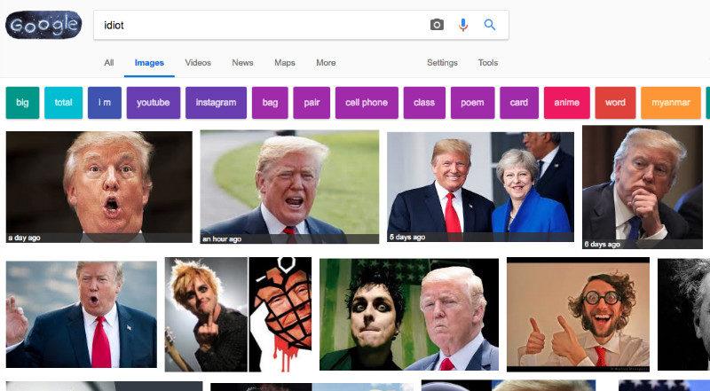 وقتی گوگل در پاسخ به جستجوی کلمه «احمق» تصاویری از ترامپ را نشان می دهد