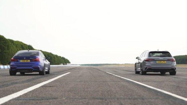 BMW M3 CS vs Audi RS4 - review & DRAG RACE, ROLLING RACE & BRAKE TEST