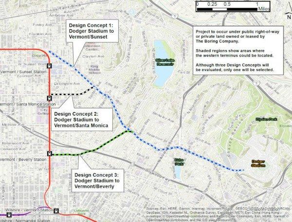 طرح پیشنهادی بورینگ کمپانی برای اتصال خط مترو لوس آنجلس به استادیوم داجر