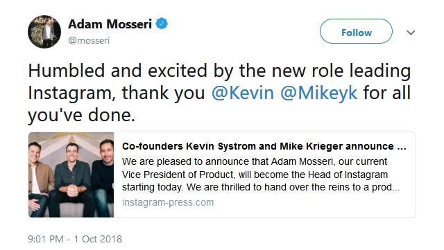 AdamMosseriTwitter - با آدام موسری، رئیس جدید اینستاگرام آشنا شوید