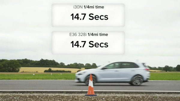 Hyundai i30N vs E36 BMW 328i - DRAG & ROLLING RACE & BRAKE TEST (3)