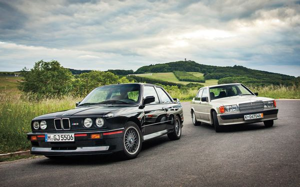 Mercedes-Benz-190E-2-3-16-BMW-M3-front-three-quarters