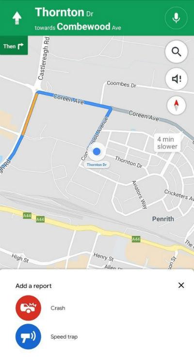 گزارش تصادف گوگل مپس