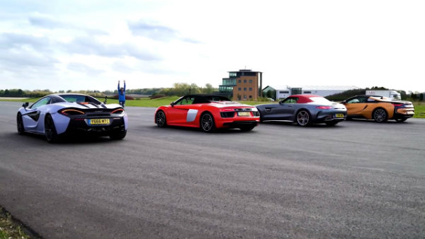 AMG GT C vs Audi R8 vs McLaren 570S vs BMW i8 - Roadsters ROOF, DRAG and ROLLING RACE (6)