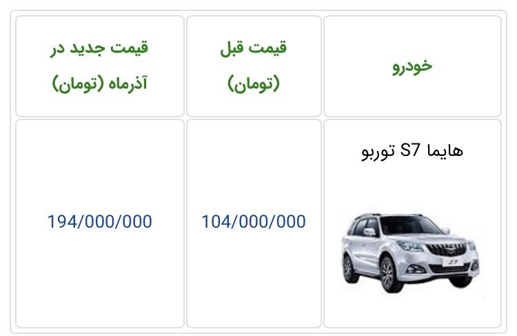 قیمت هایما S7 توربو