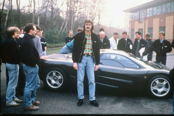 Gordon Murray in front of the McLaren F1 XP1, December 23rd, 1992.