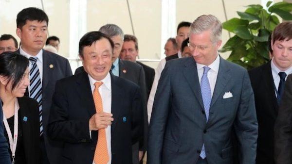 تصویری از رن ژنگفی و پادشاه بلژیک در دفتر هواوی واقع در شنژن