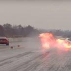 آتش سوزی یک دوج وایپر در مسابقات درگ [تماشا کنید]