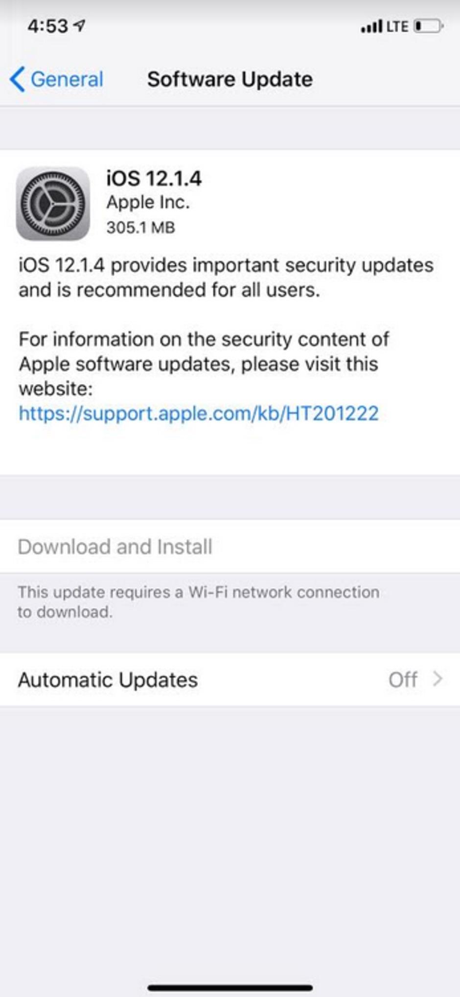 سیستم عامل iOS 12.1.4