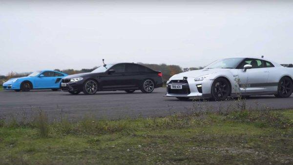 مسابقه درگ دیدنی ب ام و M5 Competition، نیسان GT-R و پورشه 911 [تماشا کنید]