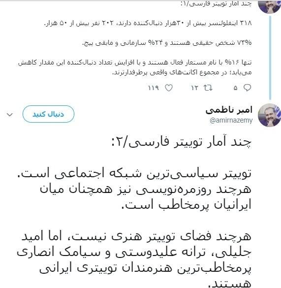 هنرمندان ایرانی در توییتر