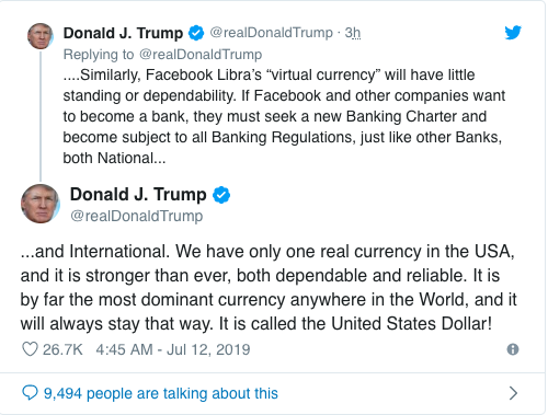 توییت ترامپ رمزارزها