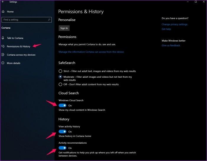 تنظیمات خصوصی ویندوز