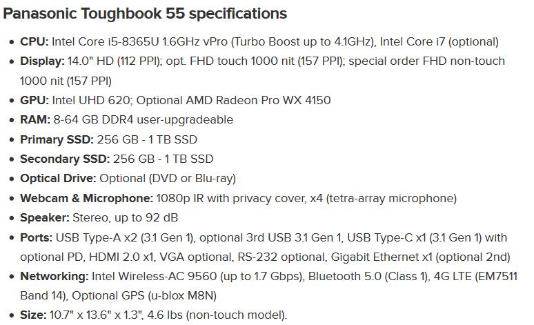 مشخصات کامل تاف بوک 55