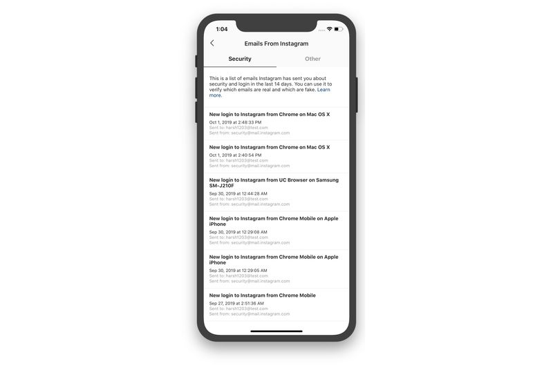 با اضافه شدن قسمت Emails from Instagram به اپلیکیشن اینستاگرام شناسایی ایمیل های جعلی راحت تر می شود