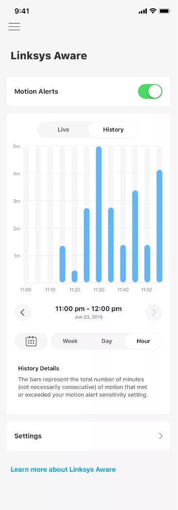 در سیستم Linksys Aware لینک سیس می توان به داده های حرکت در خانه تا 60 روز دسترسی داشت