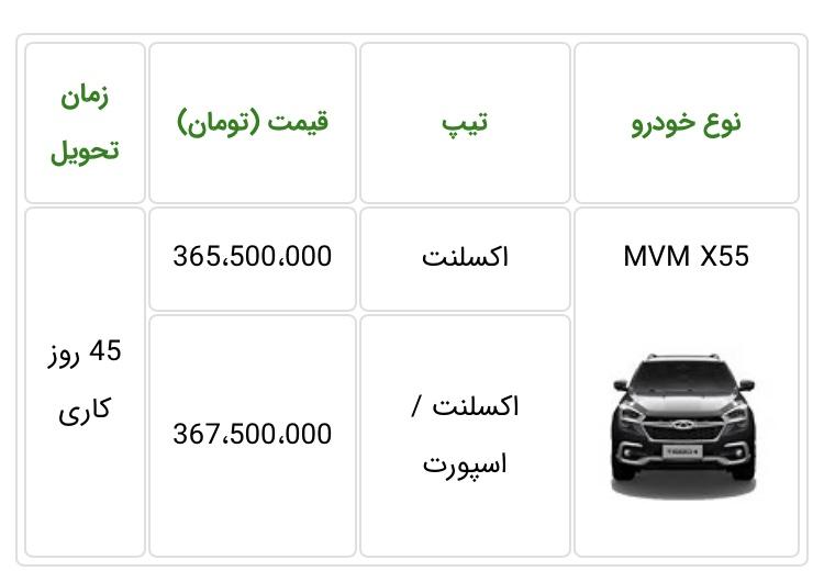 طرح فروش خودروی جدید MVM X55 آذرماه 98