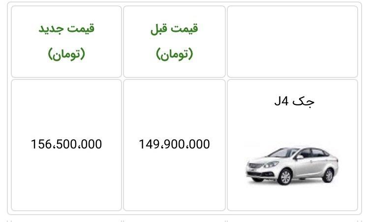 قیمت جدید خودروی جک J4 اعلام شد - آذر 98 [به روز رسانی]