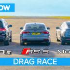 مسابقه درگ تسلا مدل 3، آئودی RS5 اسپرتبک و مرسدس AMG GLC 63 [تماشا کنید]