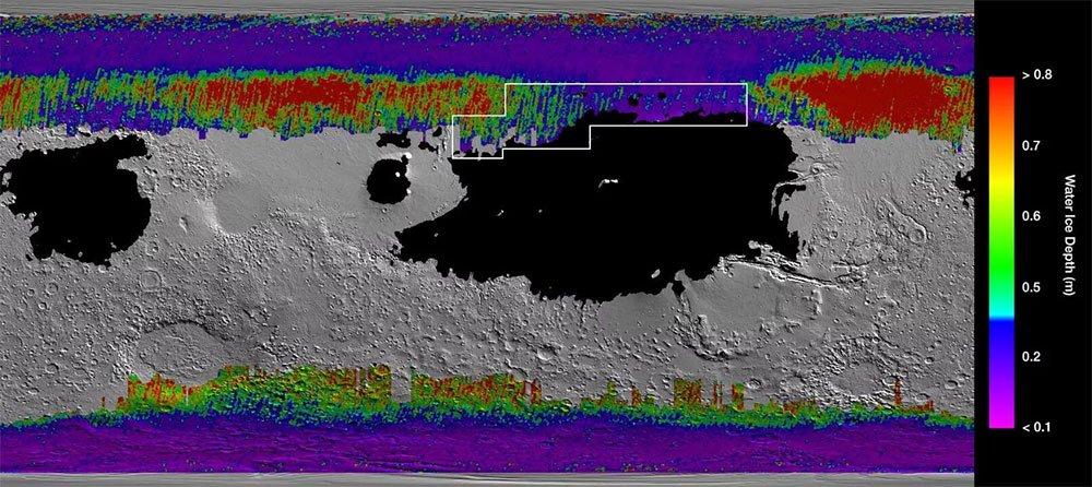 نقشه یخ های مریخ