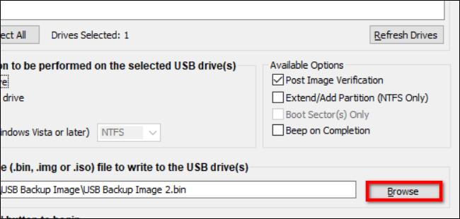 Image ایمیج گرفتن از درایو یو اس بی USB
