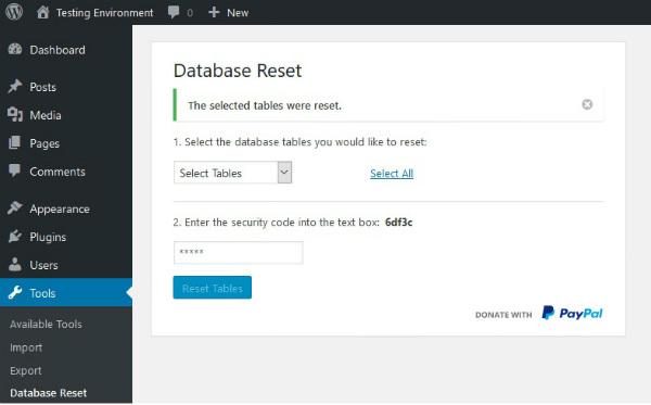 پلاگین Database Reset