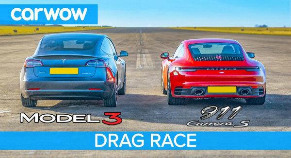 مسابقه درگ پورشه 911 کاررا S و تسلا مدل 3 نسخه Performance [تماشا کنید]