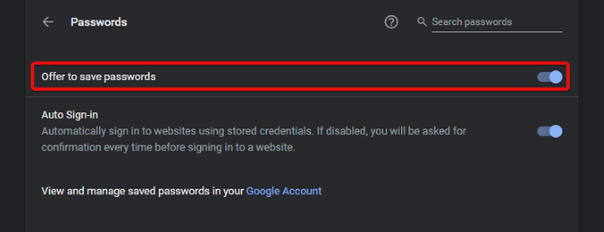 Chrome Manager Uncheck Save Passwords