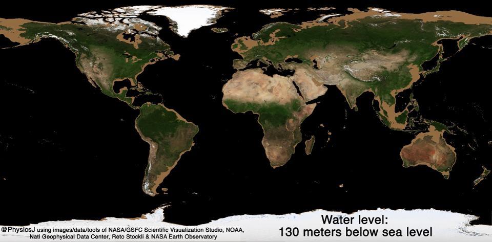 نمای زمین در صورت خشک شدن آب تمام اقیانوس ها