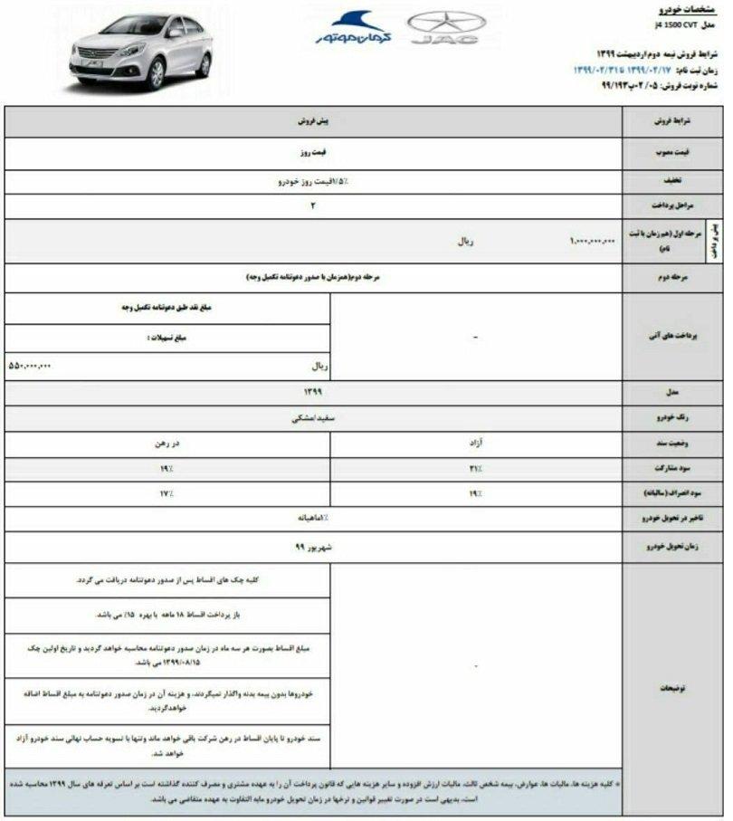 طرح جدید پیش فروش محصولات کرمان موتور [به روز رسانی] - اردیبهشت 99