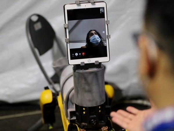 پزشکان آمریکا به کمک سگ رباتیک اسپات بیماران را از راه دور معاینه میکنند