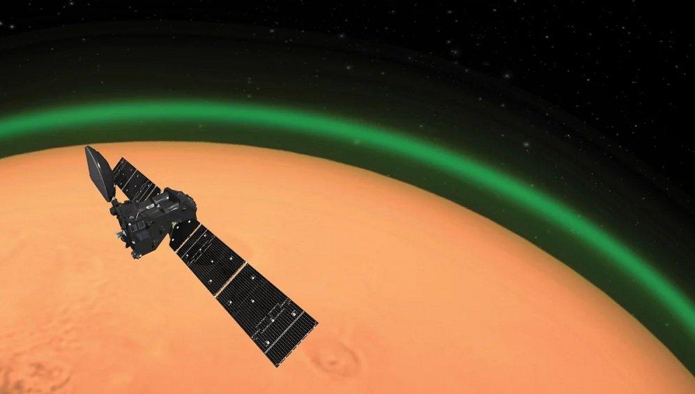اخترشناسان برای اولین بار موفق به شناسایی نور سبز درخشان در اطراف مریخ شدند