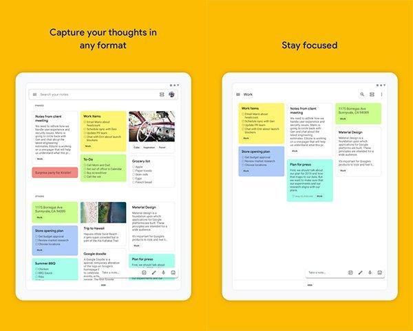 Google Keep 1 جعبه ابزار: ۱۲ اپلیکیشن اندروید که برای تبلت بهینهسازی شدهاند اخبار IT