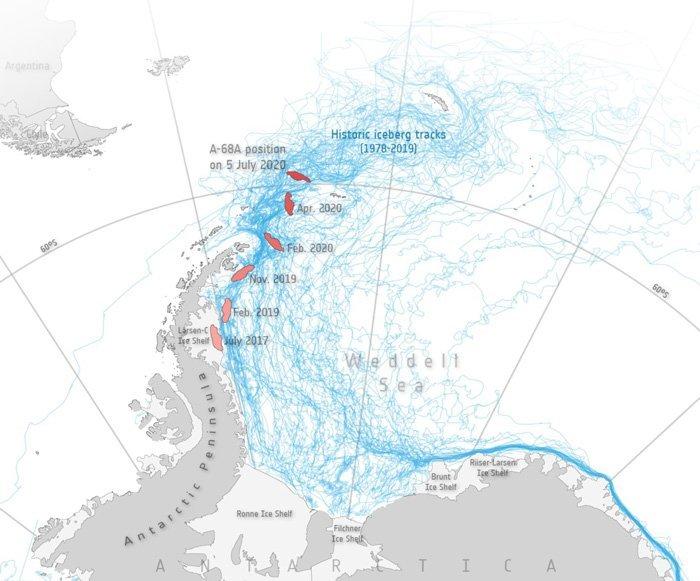 توده یخی A-68A سه سال پس از جدایی بیش از هزار کیلومتر طی کرده است