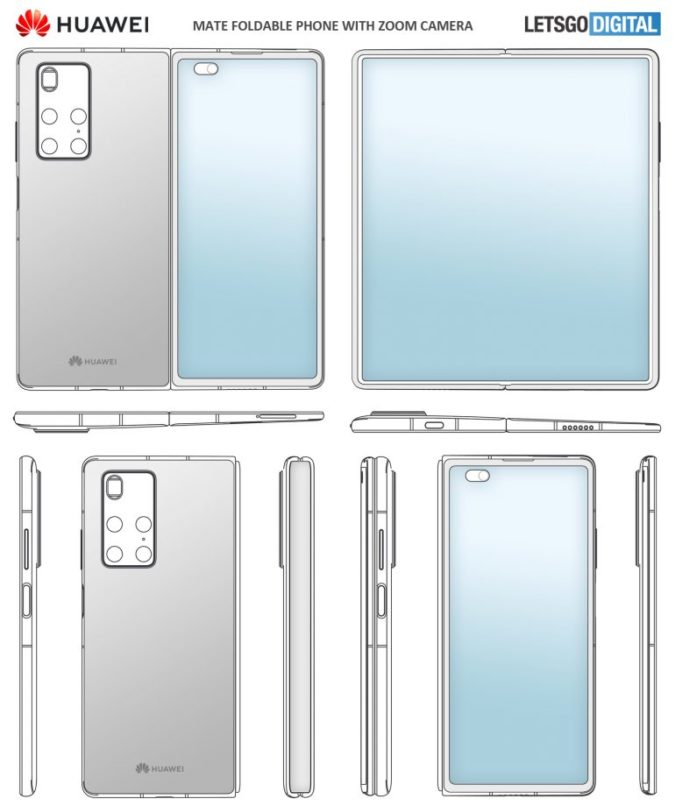 huawei mate x2 patent design 1 675x806 طراحی گوشی تاشو آینده هواوی احتمالا شبیه گلکسی زد فولد 2 است اخبار IT