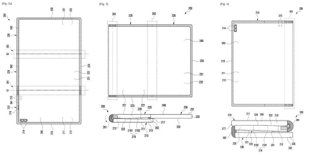 Samsung z shaped foldable sketch سامسونگ احتمالا گوشی تاشو Z شکل مجهز به دو لولا توسعه میدهد اخبار IT