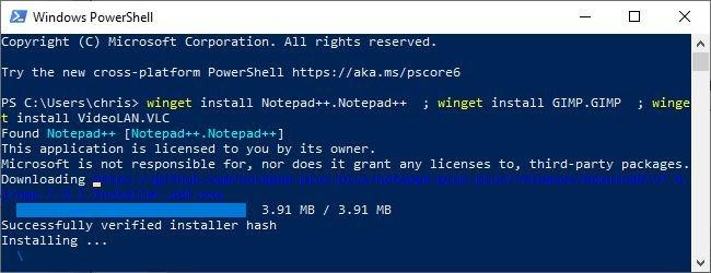 نصب برنامه با ویندوز پکیج منیجر
