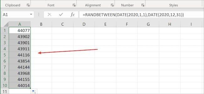 تولید داده تصادفی در اکسل