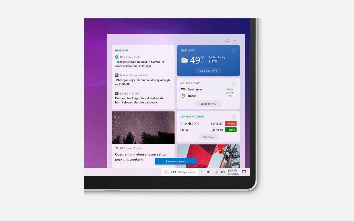 مایکروسافت با اضافه کردن فید اخبار و آبوهوا تسکبار ویندوز 10 را دگرگون میکند