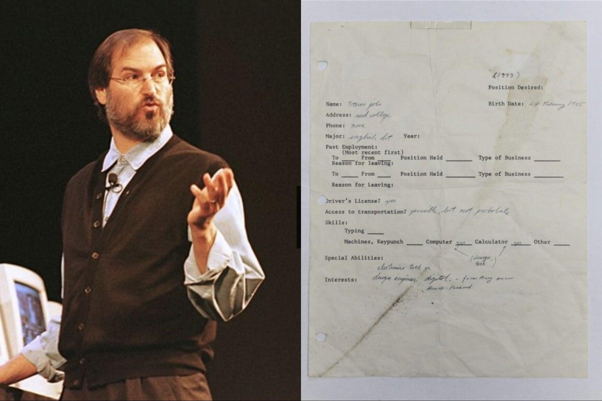 فرم درخواست شغل استیو جابز با قیمت ۲۲۲ هزار دلار در یک حراجی فروخته شد