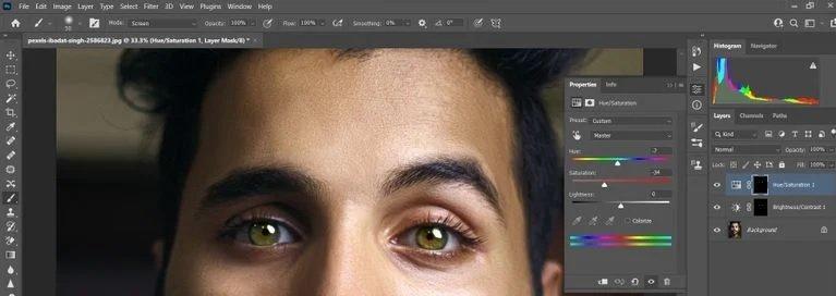 ویرایش چشم در فتوشاپ