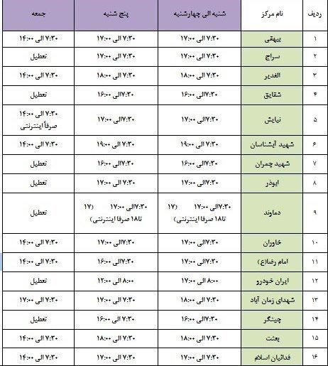 ساعت کاری مراکز معاینه فنی اردیبهشت 1400