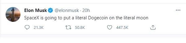 ایلان ماسک در توییتش نوشته که اسپیس اکس میخواهد دوج کوین را روی ماه قرار دهد.