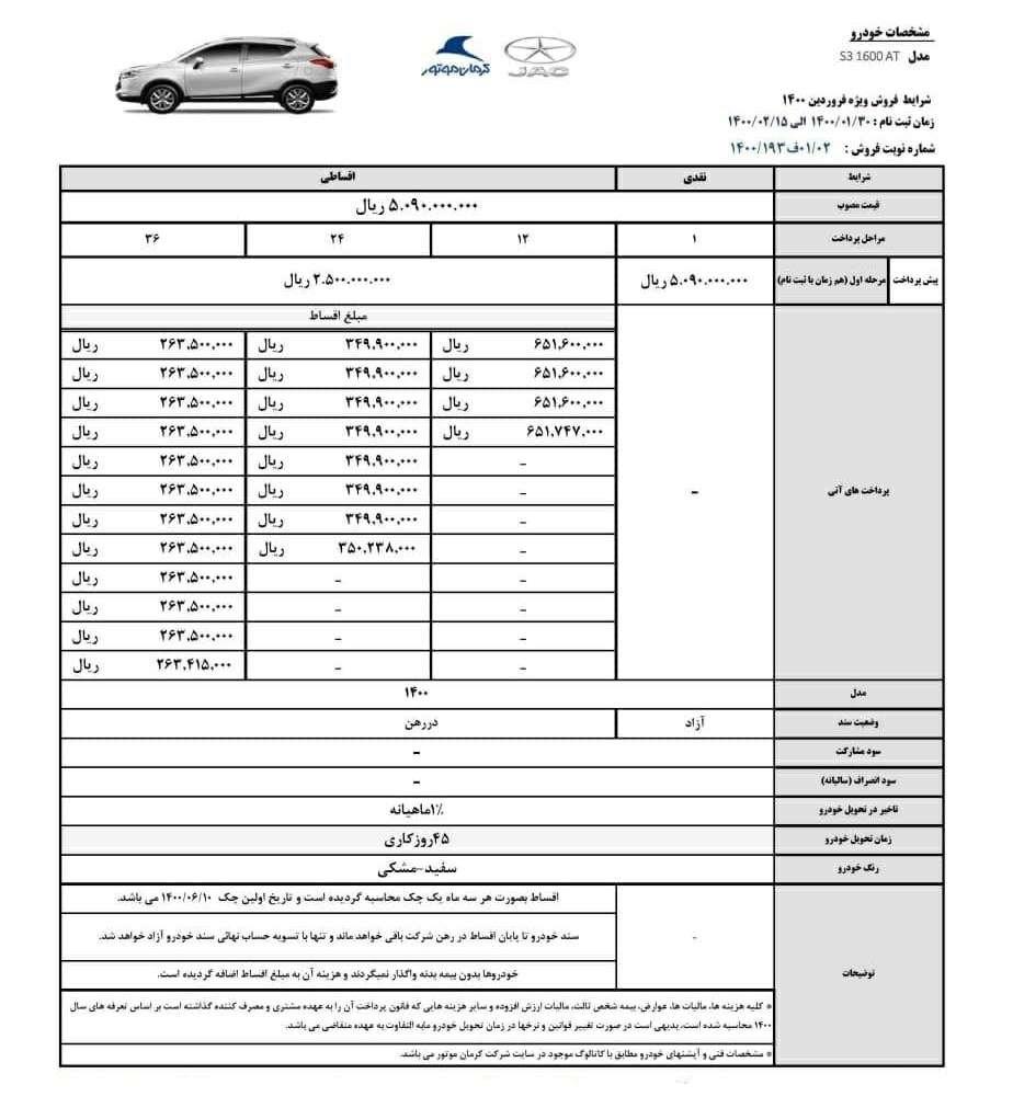 شرایط فروش ویژه جک S3 فروردین ۱۴۰۰