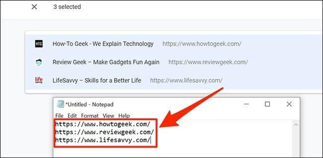 کپی آدرس URL تبهای کروم